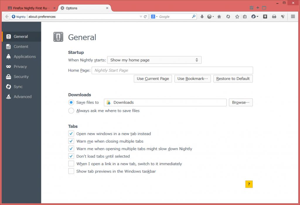 Firefox33 設定画面