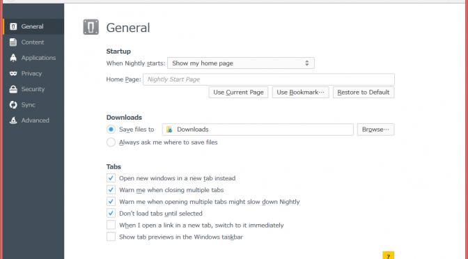 Firefox33では設定画面がブラウザウィンドウに統合